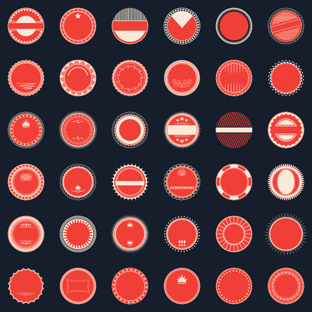stamp collection: Grunge stamp collection. Set of templates of round labels