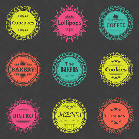 baked goods: Set of coffee, bakery labels. Bright colors. Grunge background