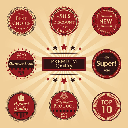 original design: Premium quality labels set. Original Design. Round labels
