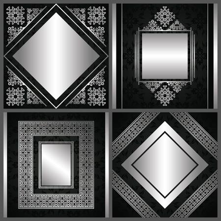 bodas de plata: Conjunto de tarjetas con la decoración de la vendimia en plata. Tarjetas con marcos decorativos de lujo, las fronteras y cintas