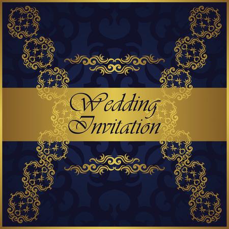 marcos decorativos: Invitación de boda con el modelo del oro