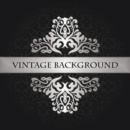 Einladungskarte mit dekorativen Elementen. Vintage Dekoration in Silber Standard-Bild - 46937214