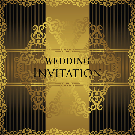 business backgound: Vintage card with a gold decoration. Vintage frame. Lace decoration. Cfn be used as wedding invitation. Striped background