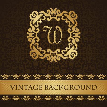 ornamental: Vintage background with frame and decorative border on a seamless background. Luxury design. Invitation card, wedding invitation, pastcard Illustration