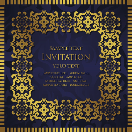 gold leaf: Abstract background with antique, vintage frame. Damask wallpaper with ornamental, gold invitation card, baroque style label. Graphic ornament for decoration, luxury design Illustration