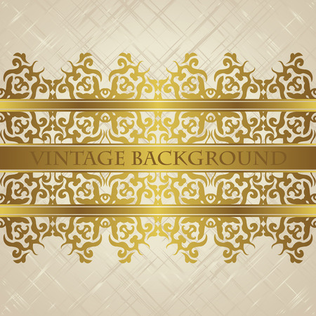 vintage lace: Vintage background with decorative lace ribbon in a gold. Place for text. Luxury design. Grunge background
