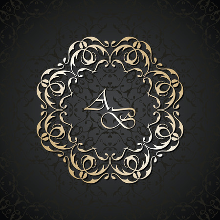 label frame: Vintage luxury background in a black. Vector antique round frame