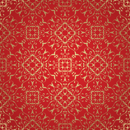 red wallpaper: Vector damask seamless pattern background. Elegant luxury texture for wallpapers, backgrounds. Gold pattern on red background