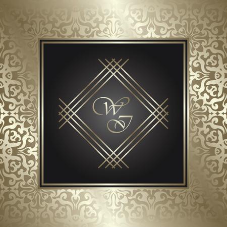 Vintage royal background, antique, gold ornament, baroque frame, beautiful wedding card, floral luxury background for design