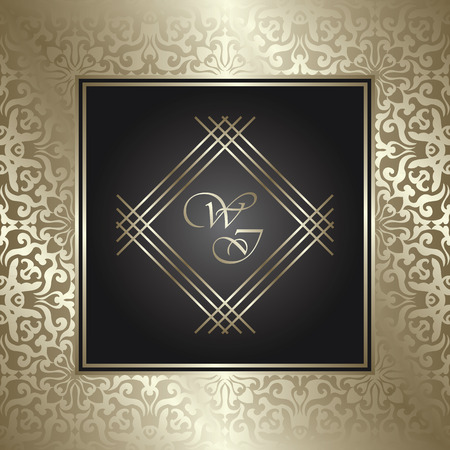 royal background: Vintage royal background, antique, gold ornament, baroque frame, beautiful wedding card, floral luxury background for design