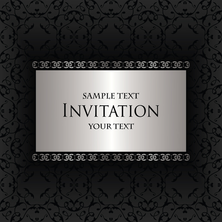 silver frame: Vintage background with frame in a silver. Seamless background in a black
