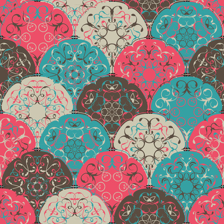 retro circles: Seamless abstract wallpaper of bright circles. Can be used for invitation cards, textures, textile etc. Retro Design Illustration