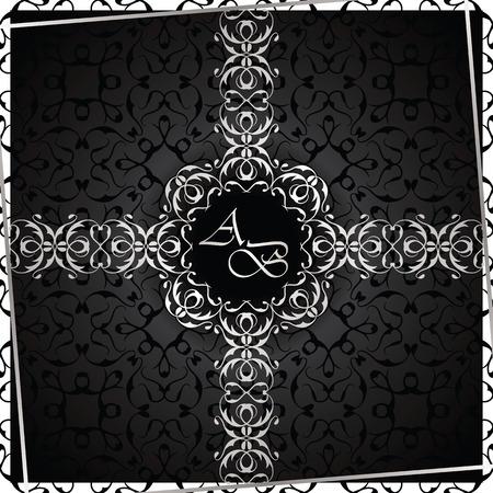 black and silver: Vintage black background, antique card, silver ornament, luxury design