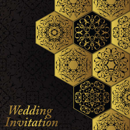Wedding invitation with vintage diamond ornament. Vector jewelry seamless pattern. Luxury design and gold decoration