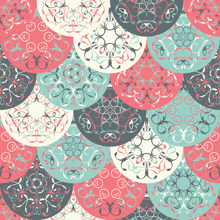 abstract wallpaper: Seamless abstract wallpaper of bright circles. Can be used for invitation cards, textures, textile etc. Retro Design. Seamless patchwork pattern. Vintage textures with tiles Illustration