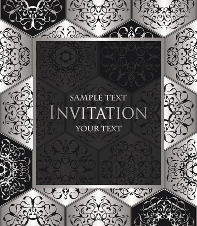 Vintage invitation with diamond ornament. jewelry seamless pattern. Luxury design in silver