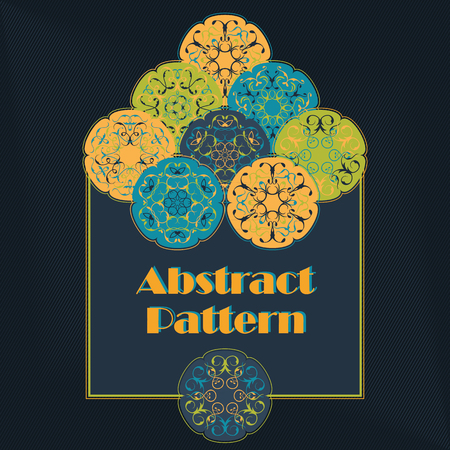 decoupage: Abstract pattern with colored abstract circles. Floral design, invitation card. Can be used for patchwork or decoupage