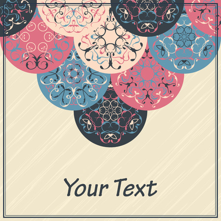 original circular abstract: Abstract background with round ornaments. Invitation card. Grunge design