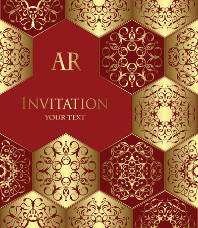 abstract backgrounds: Vintage invitation with diamond ornament. Vector jewelry pattern. Luxury gold&red design