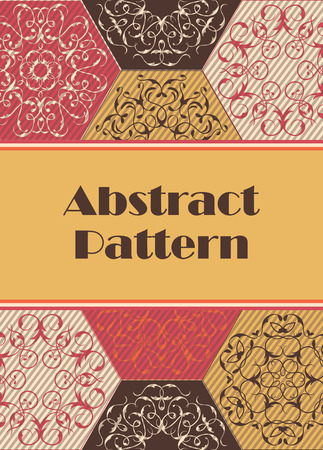patchwork pattern: Bright Card on patchwork pattern, abstract ornaments. Place for text Illustration