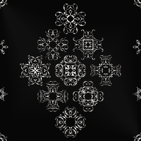 silver texture: Vintage card with silver lace ornaments. Striped black background Illustration