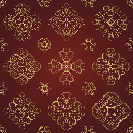 red wallpaper: Vintage seamless pattern with gold lace floral decoration. Can be used for modern design for textures, textile