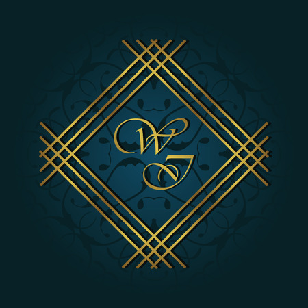royal blue background: Vintage background with gold decoration, invitation card Illustration