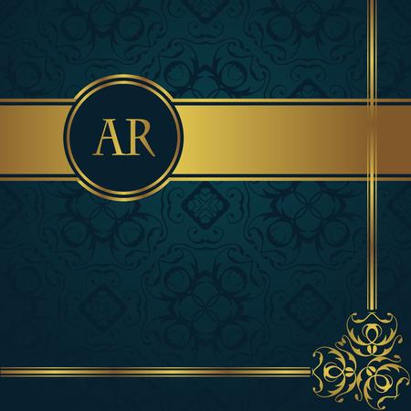 Fondo de la vendimia con la decoración de oro y frontera. de fondo sin fisuras en un azul Ilustración de vector