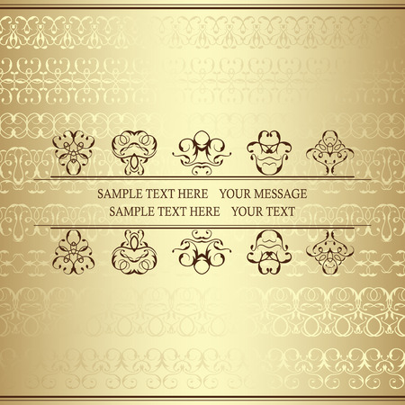 golden ribbons: Retro invitation. Invitation card with lace ornaments and place for text. Background with vintage ribbons. Golden wallpaper