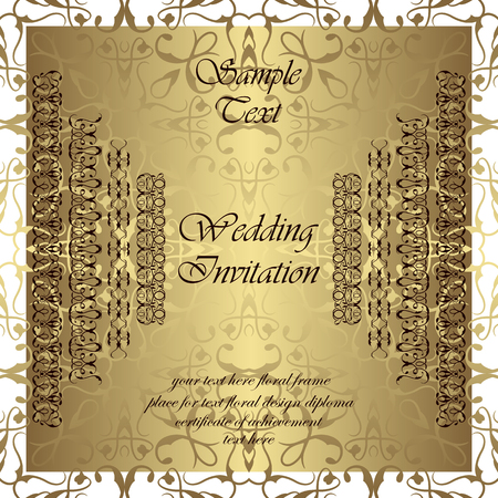 golden ribbons: Wedding invitation. Invitation card. Seamless Background. Vintage ribbons. Golden wallpaper