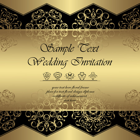invitation background: Vintage royal background.  Lace luxury ornaments in a gold. Can be used as wedding invitation or card