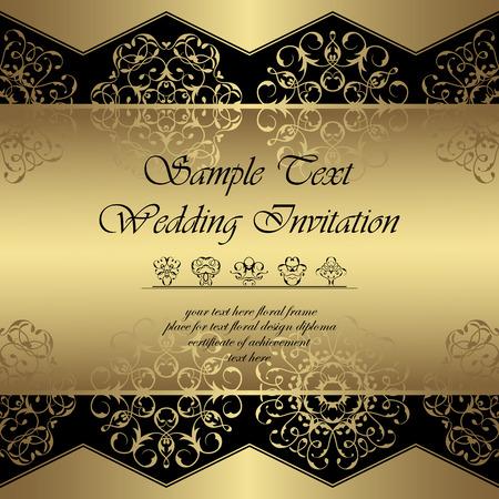 Fondo real de la vendimia. adornos de encaje de lujo en un oro. Se puede utilizar como invitación de la boda o de la tarjeta