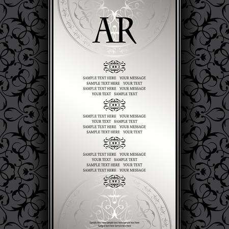 Fondo de la vendimia con el marco antiguo de plata de lujo. tarjeta de invitación, plantilla para su diseño
