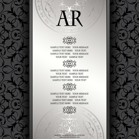 silver ribbon: Vintage background with antique luxury silver frame. Invitation card, template for your design