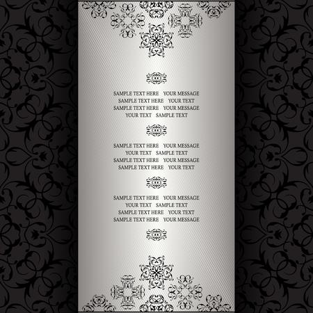 silver frame: Vintage background, silver frame. Invitation card, template for your design