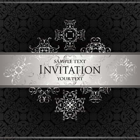 luxury background: Luxury background with lace ornament. Floral elements. Vintage background in black. illustration