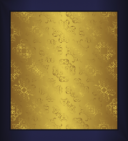 decoupage: Seamless luxury template in a gold . Can be used for decoupage, background for cards and invitations. Dark-blue background