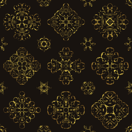 gold fabric: Vintage pattern with gold lace floral decoration. Grunge design. Can be used for modern design Illustration