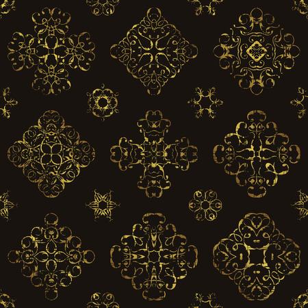 floral grunge: Vintage pattern with gold lace floral decoration. Grunge design. Can be used for modern design Illustration