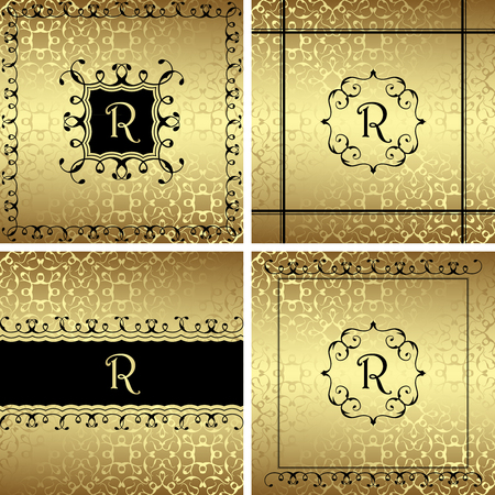 luxury background: Set of luxury invitations. Golden background. Template for your design