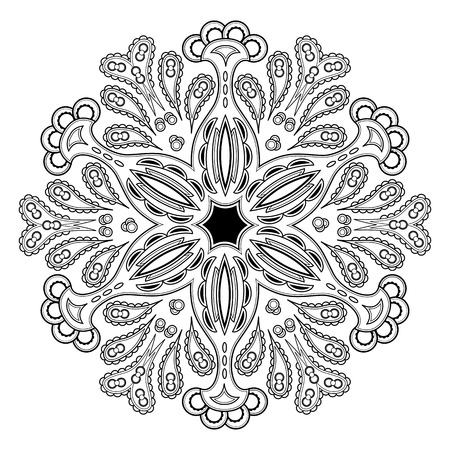 Ornament black and white card with mandala. Can be used as coloring page or element for decoration