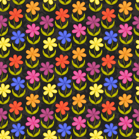 grunge wallpaper: Floral seamless wallpaper. Grunge dark background Illustration