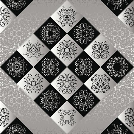 ceramica: patrón de mosaico sin fisuras. Textura de la vendimia con plata y azulejos negros. El diseño retro