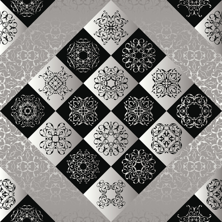 silver texture: Seamless patchwork pattern. Vintage texture with silver and black tiles. Retro design