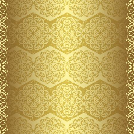 grunge wallpaper: Golden vintage wallpaper in grunge design Illustration
