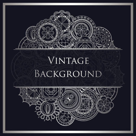 vintage lace: Abstract background. Hand drawn art mandalas. Place for text Illustration