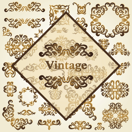 classic classical: Set of decorative floral elements. Vintage design for vector illustration. Vintage patterns for decoration Illustration
