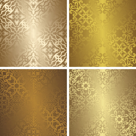gold textured background: Seamless vintage patterns set. Can be used for Design, Background, Banner, Invitation, Card and other. Golden design