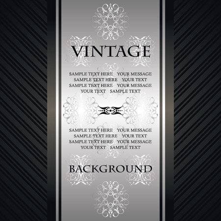Luxury vintage background. Card have vintage striped black background and silver decoration