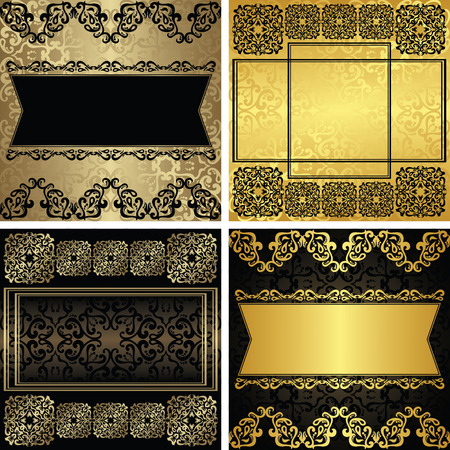 Set of vector vintage luxury decorative frames. Two color combinations
